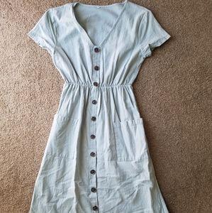 Dresses & Skirts - Eggshell Blue Pocket Button Down Dress